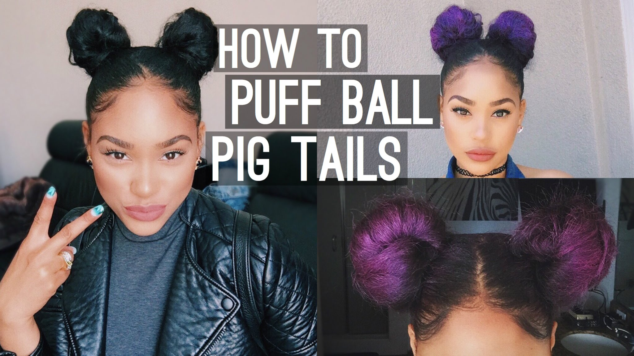 135b6175922f How to   Puff Ball Pig Tails (Space Buns)